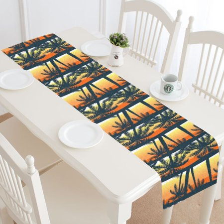 MYPOP Sunset Palm Tree StripeTable Runner Home Decor 14x72 Inch,Summer Tropical Palm Tree Table Cloth Runner for Wedding Party Banquet Decoration - Palm Tree Table Decorations