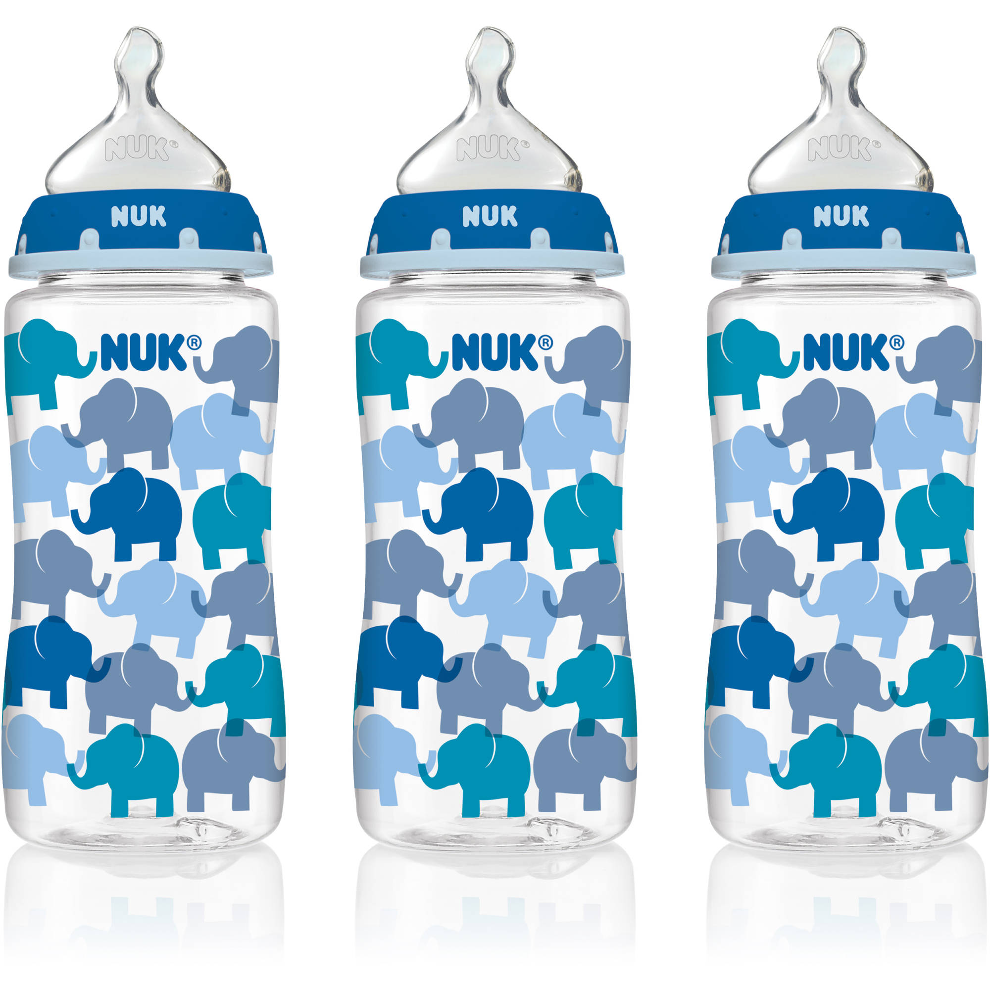 NUK 14074 Elephants Baby Bottle with Perfect Fit Nipple, 10 Ounces, 3 Pack