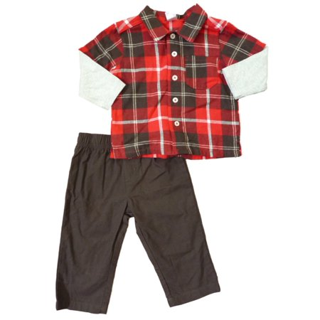 Carter S Infant Boys Red Amp Brown Plaid Flannel Button Up