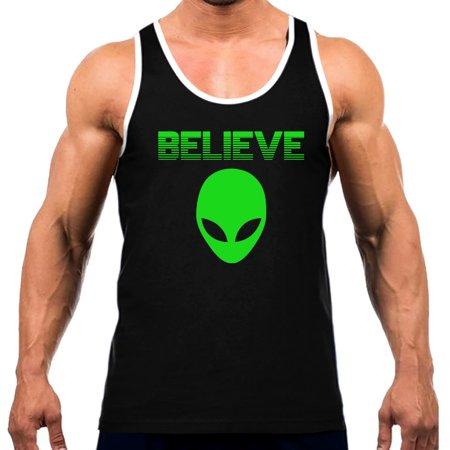 Men's Green Believe In Aliens V356 Tee White Trim Black Tank Top Large Black - Aliens From Men In Black