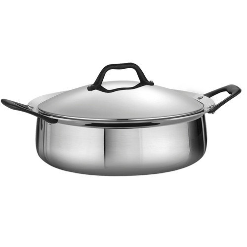 Tramontina Limited Editions Barazzoni 5.5 Quart Stainless Steel Covered Tri-Ply Clad Casserole
