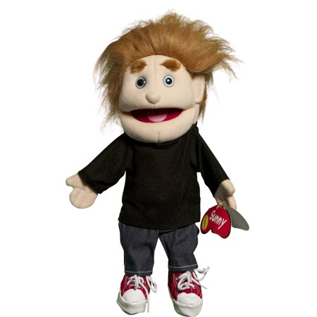 - Sunny Toys GL1581 14 In. Brunette-Haired Boy In Black Top, Glove Puppet