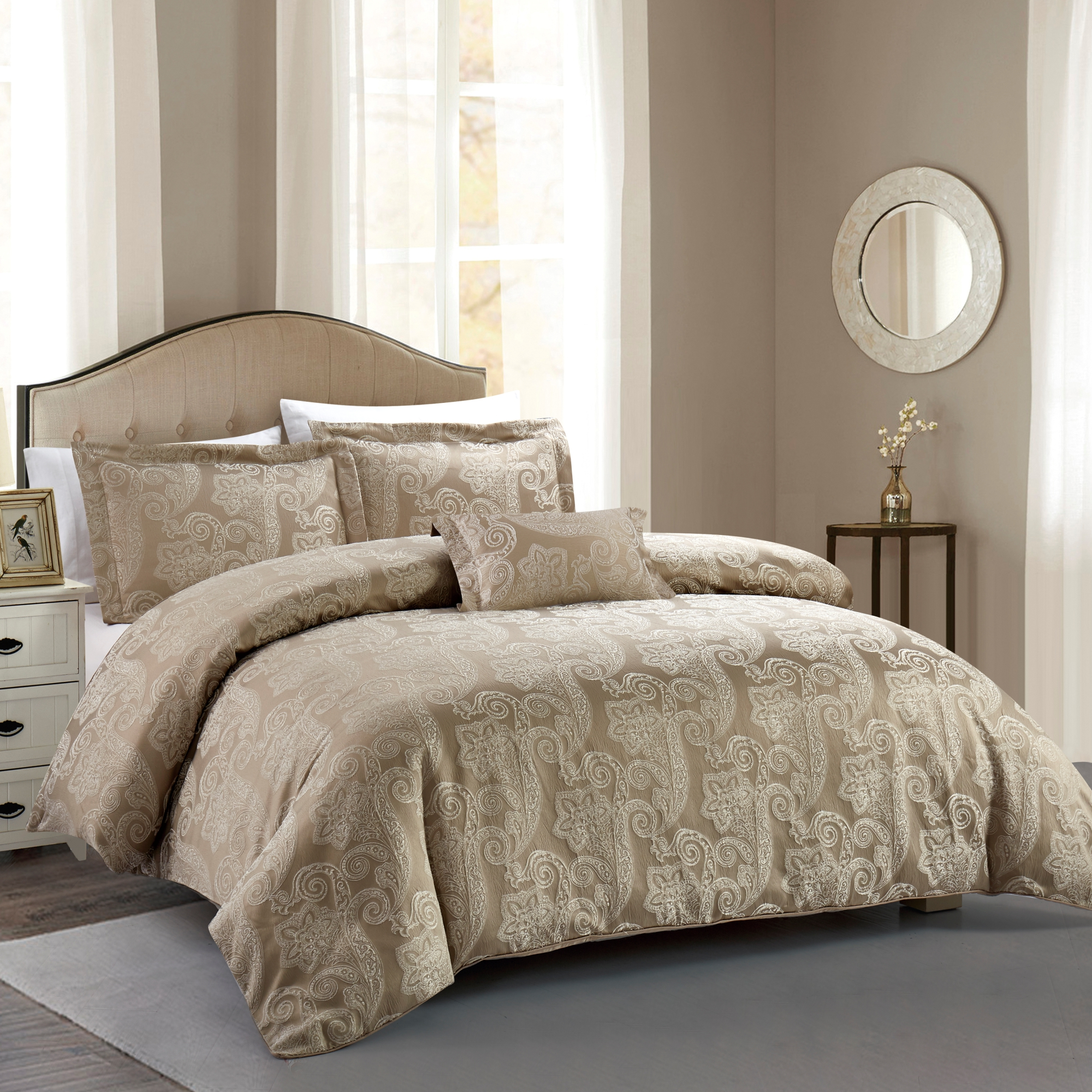 Hotel Paisley Luxe Down Alternative Comforter Set Royal Taupe, Full/Queen 4 Piece by California Design Den