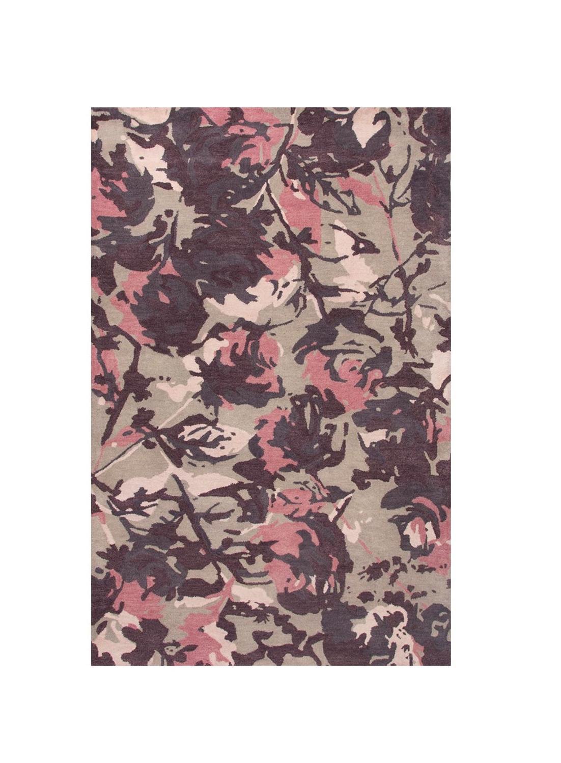 8 X 11 Slate Gray Plum Purple And Midnight Blue Abstract Floral Hand Tufted Wool Area Throw Rug Walmart Com Walmart Com
