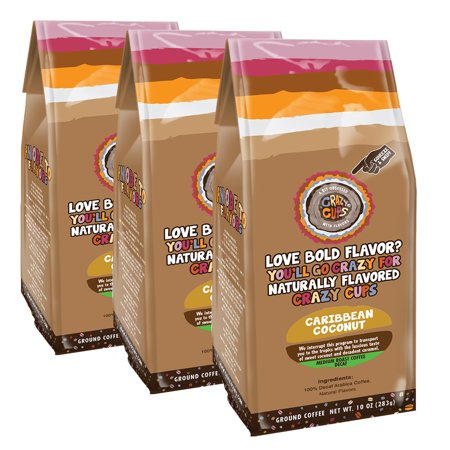 Crazy Cups Flavored Ground Coffee in 10 oz Bag (Decaf Caribbean Coconut, Single 10oz -