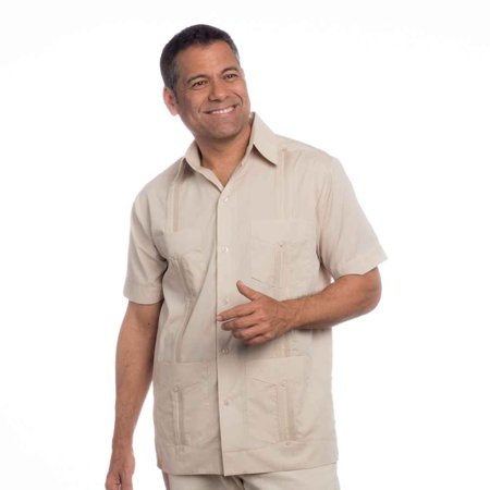 Basic Traditional Cotton Blend cuban guayabera shirt. SIZE:2X COLOR:BG - White Teen Boys