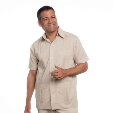 Basic Traditional Cotton Blend cuban guayabera shirt. SIZE:2X (Black Printed Cotton Blend)