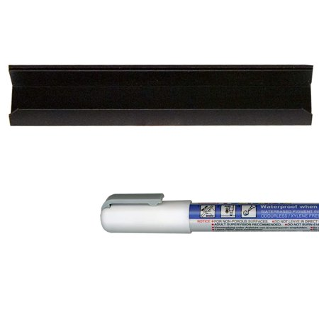 Ziggyboard 6 Inch Marker and Tray Set includes One Single Marker Tray with Heavy Duty Magnetic Back and Writeable Surface and Zig Posterman Waterproof 1mm Tip White Marker ()