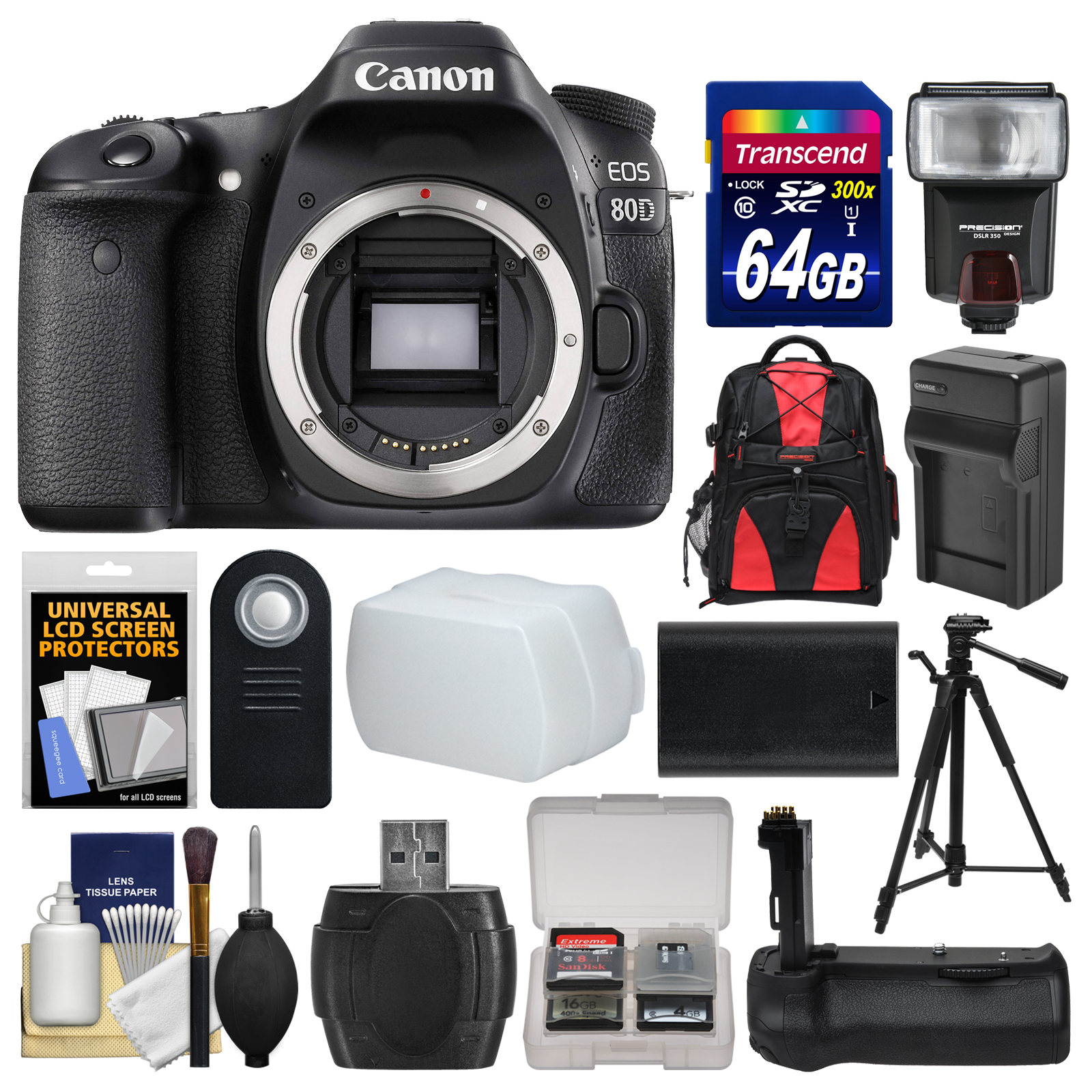 Canon EOS 80D Wi-Fi Digital SLR Camera Body with 64GB Card + Case +