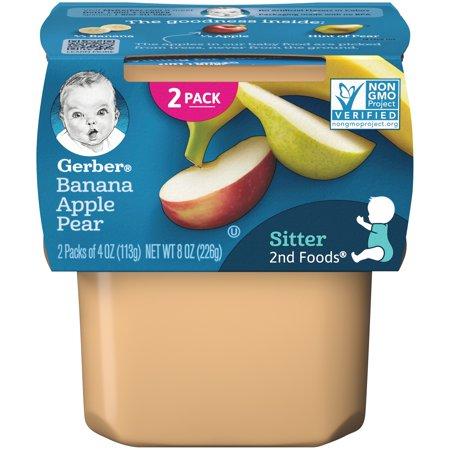 Gerber 2nd Foods Banana Apple Pear Baby Food, 4 oz. Tubs, 2 Count (Pack of 8) ()