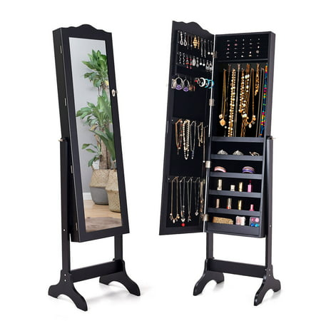 Costway Lockable Mirrored Jewelry Cabinet Armoire Mirror Organizer Storage Box w/ - Tabletop Jewelry Box