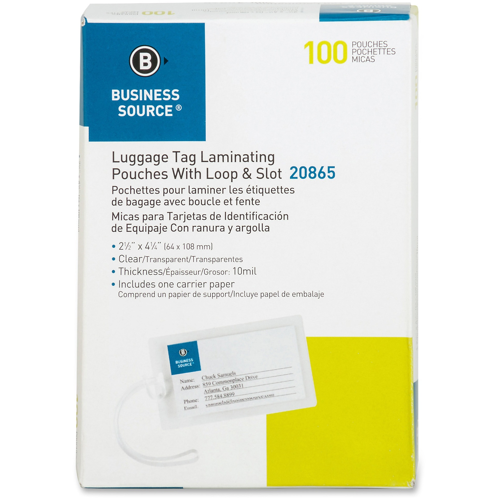 Business Source, BSN20865, Luggage Tag 10 mil Laminating Pouches, 100 / Box, Clear