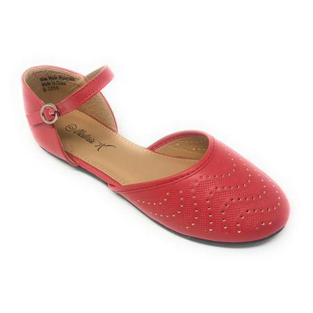 Victoria K Women's Wave Dot Cut out Ankle Strap Ballerina Flats ()