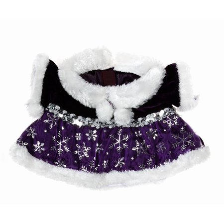 Dressed Teddy Bear - Purple Snowflake Dress Outfit Teddy Bear Clothes Fits Most 14