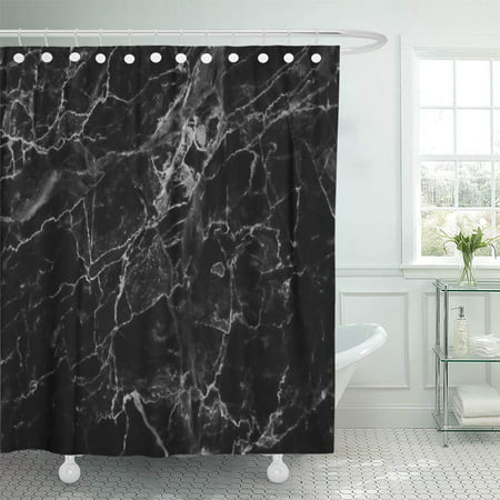 - KSADK Gray Wall Black Marble Patterned White Stone Granite Luxury Floor Slab Dark Shower Curtain Bath Curtain 60x72 inch