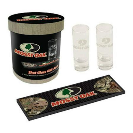 Mossy Oak Two-Shot Glass Set, and Beverage Mat, Hunting Enthusiast MO-68703 thumbnail