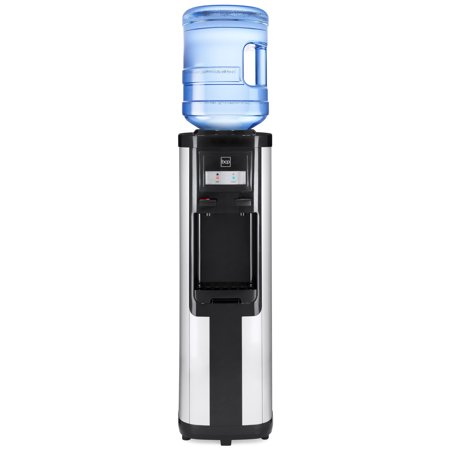 Best Choice Products Freestanding Top Loading Instant Hot and Cold Water Cooler Dispenser with Compressor Cooling Drip Tray, Hot Water Safety Lock, 5-Gallon, Stainless Steel,