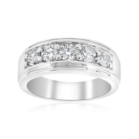 - Channel Set Men's Wedding Ring Band SI/G 1 Ct Diamond 14K White Yellow Rose Gold