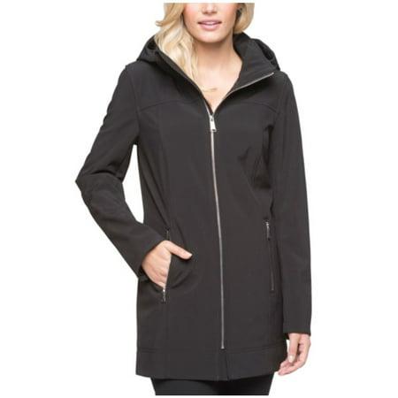 Marc New York Black Jacket - Andrew Marc Women's Long Softshell Hooded Jacket (Black,Regular,Large)