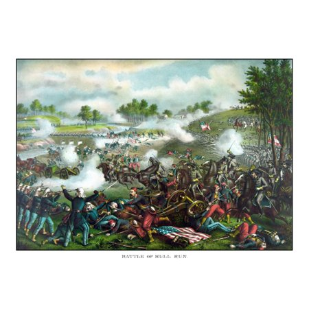 Civil War painting of Union and Confederate troops fighting at The Battle of Bull Run Canvas Art - John ParrotStocktrek Images (32 x