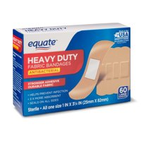 Equate Heavy-Duty Antibacterial Fabric Bandages, 60 Ct
