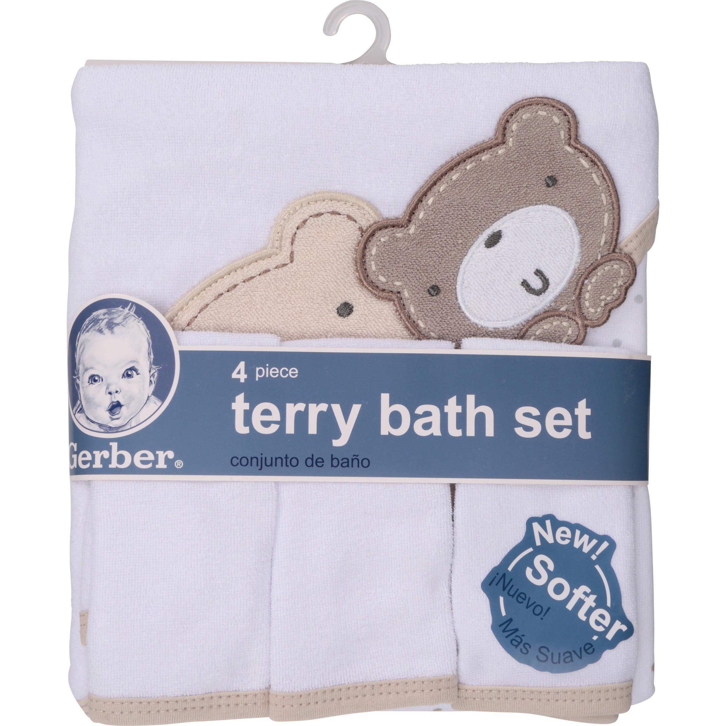 Gerber Newborn Baby Towel and Washcloths Bath Gift Set, Bears, 4 Piece
