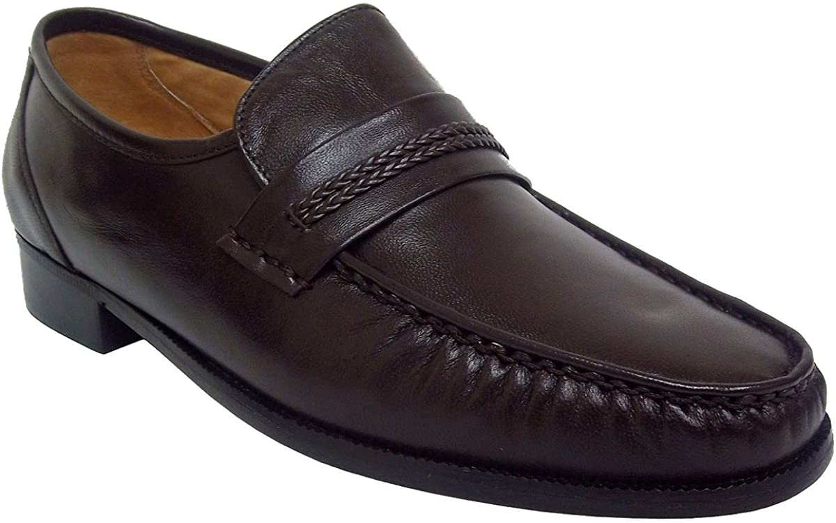 Summer Mens Genuine Leather Comfortable Flat Heel Shoes Fathers Day Mens Leather Dress Shoes Slip On Plain Toe Loafer Color : Brown, Size : 7.5 US