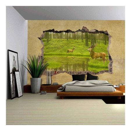 wall26 - Deers in The Forest Viewed Through a Broken Wall - Large Wall Mural, Removable Peel and Stick Wallpaper, Home Decor - 66x96