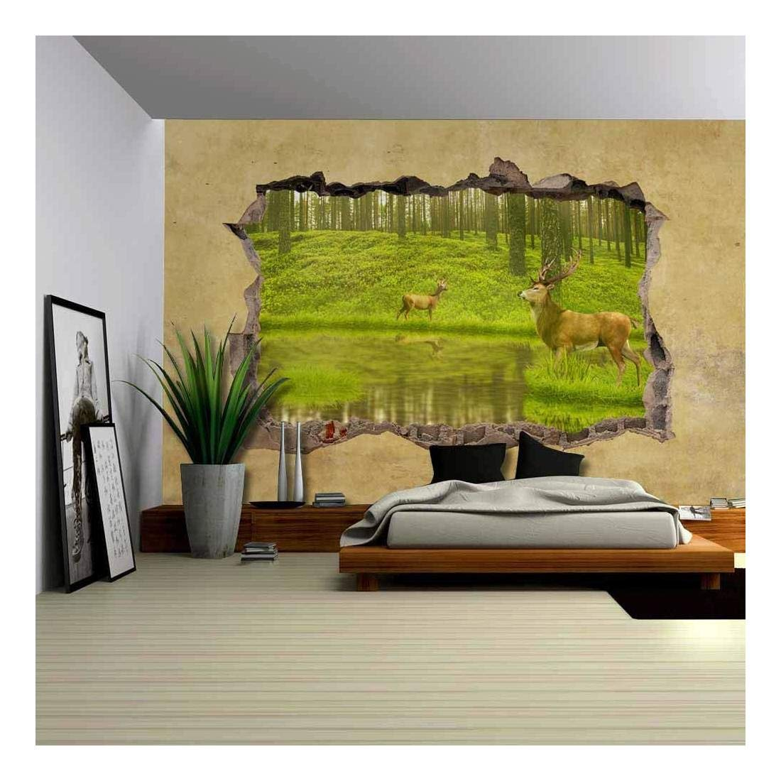 wall26 Deers in the Forest Viewed through a Broken Wall - Large Wall Mural, Removable Peel and Stick Wallpaper, Home Decor - 66x96 inches