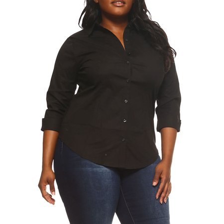 5a70bf70b0 Genx - Womens Plus Size Solid 3/4 Sleeve Button Down Shirts T7564-XL-Black  - Walmart.com