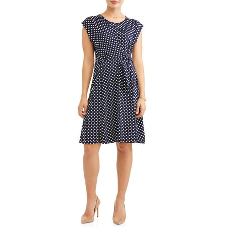 Women's Polka Dot Tie Front Dress