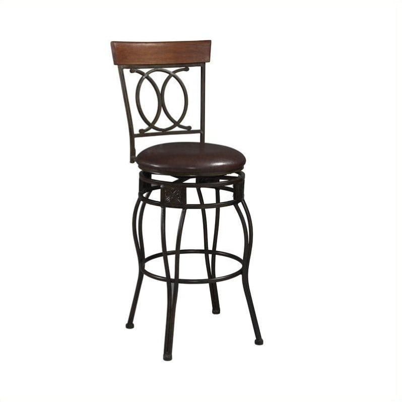 Linon O Amp X Back Counter Stool Brown 24 Inch Seat Height