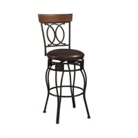 Linon O & X Back Counter Stool, Brown, 24 inch Seat Height