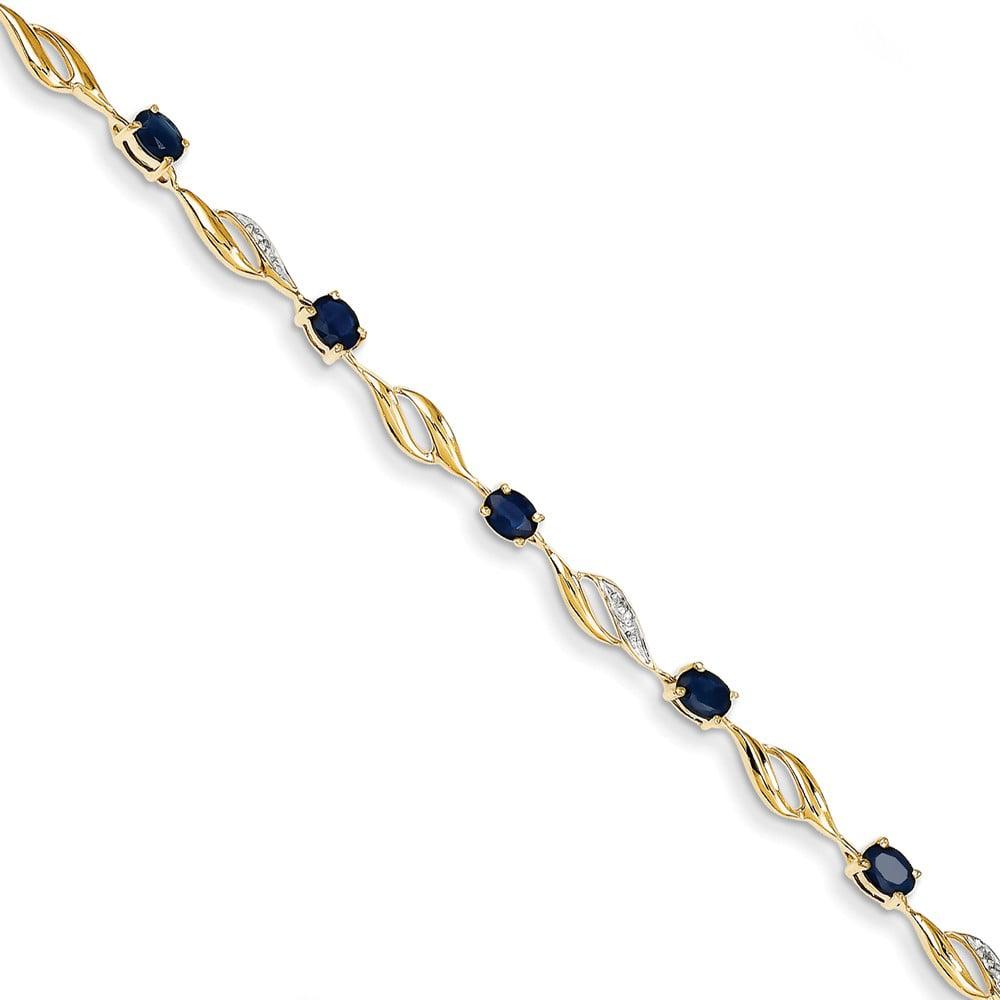 14k Yellow Gold Diamond & Sapphire Oval Bracelet