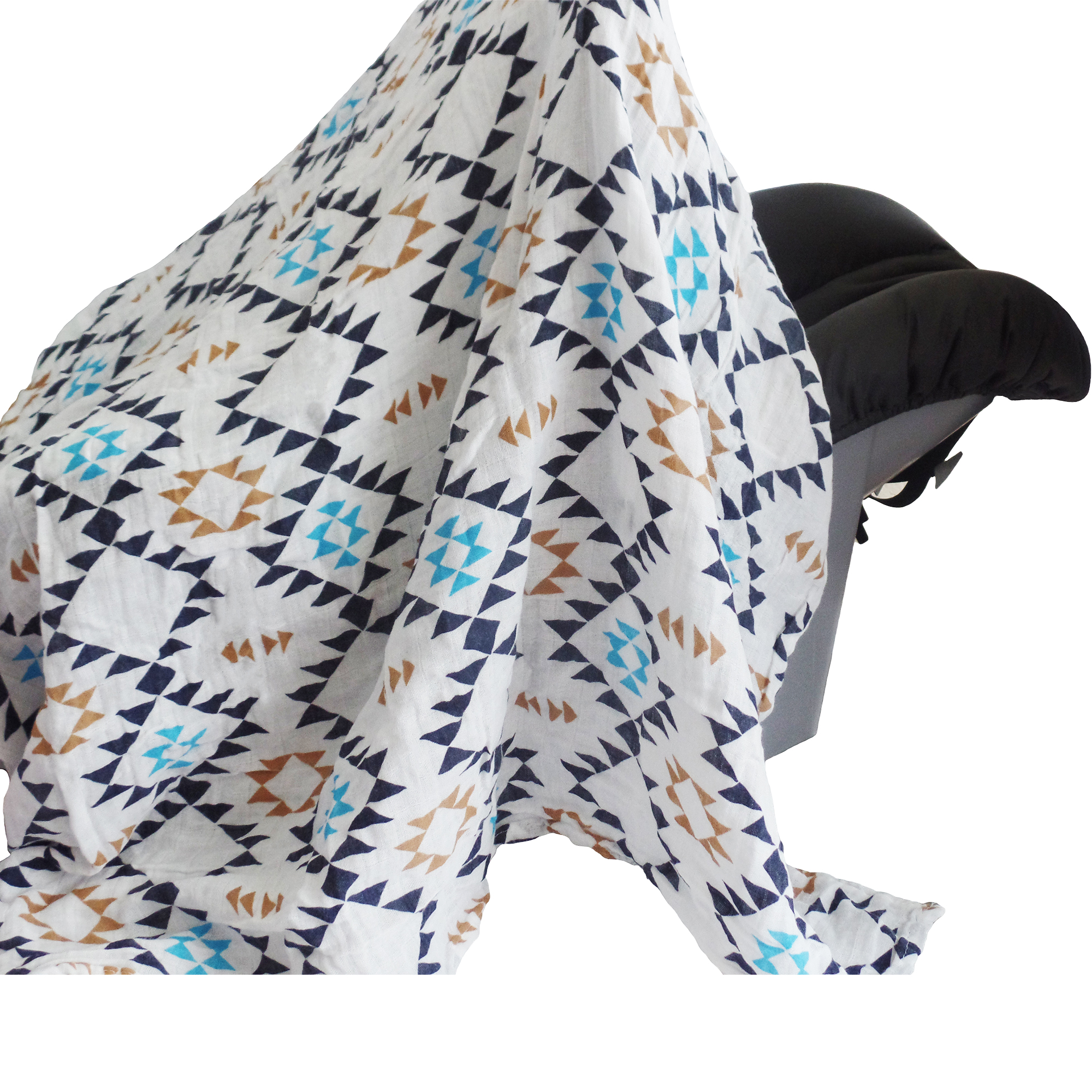 Soft and Versatile 100% Muslin Cotton Swaddle Pre-Washed Blankets, Large, 47 x 47, Geometric Patterns