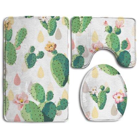 Chaplle Vintage Cactus 3 Piece Bathroom Rugs Set Bath Rug