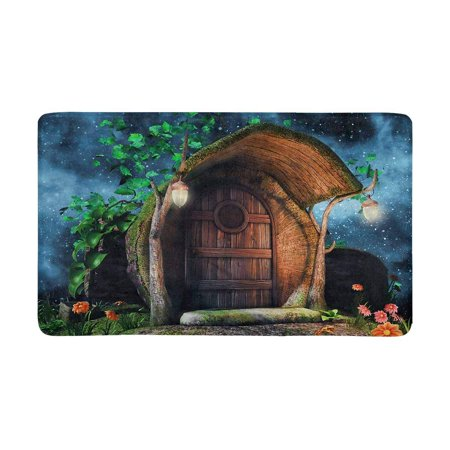MKHERT Fairytale Tree Trunk Cottage with Ivy Flowers and Lamps at Night Doormat Rug Home Decor Floor Mat Bath Mat 30x18 inch