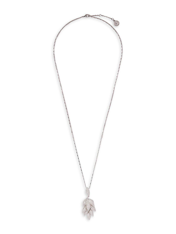 Silvertone Layered Pavé Leaf Long Pendant Necklace