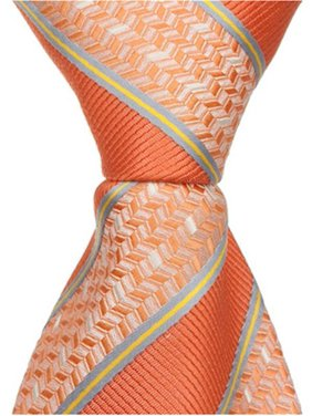 b1c856865101 Product Image Matching Tie Guy 2580 O2 - 15.25 in. Zipper Necktie - Orange  With Stripes,