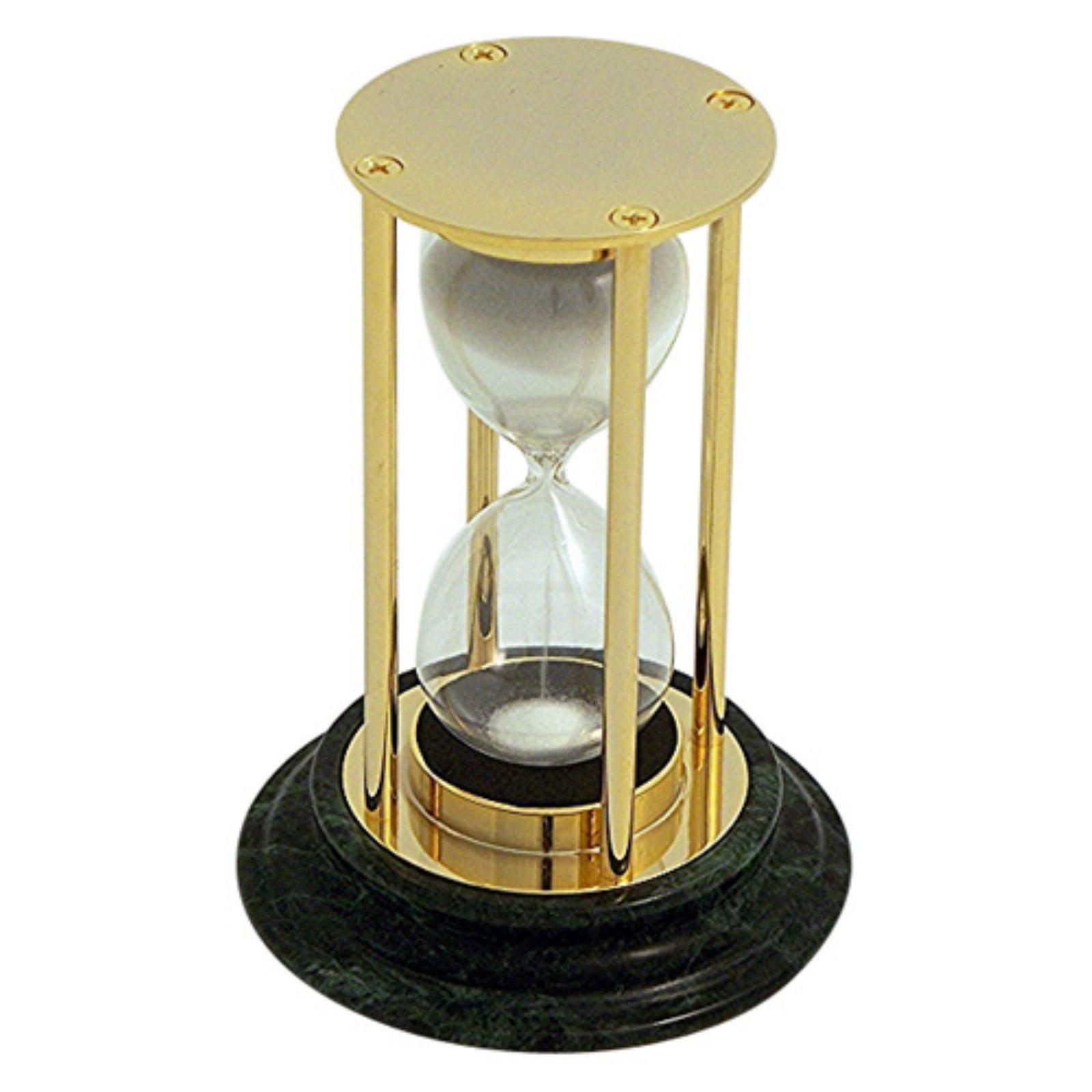 Bey Berk Brass / Green Marble 15 Minute Sand Timer - White Sand
