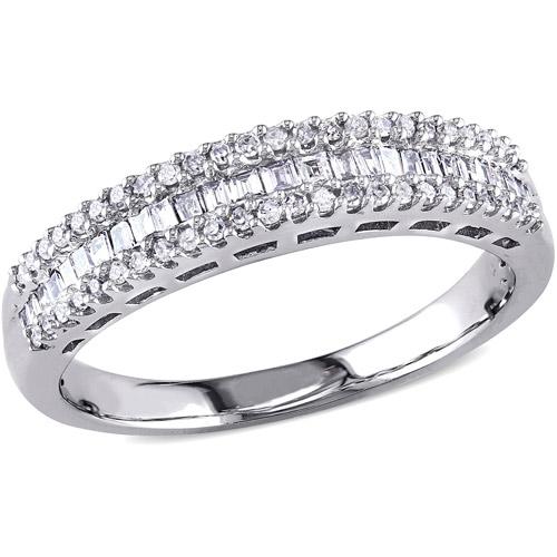 Miabella 1/3 Carat T.W. Parallel Baguette- and Round-Cut Diamond 14kt White Gold Three-Row Semi-Eternity Anniversary Ring
