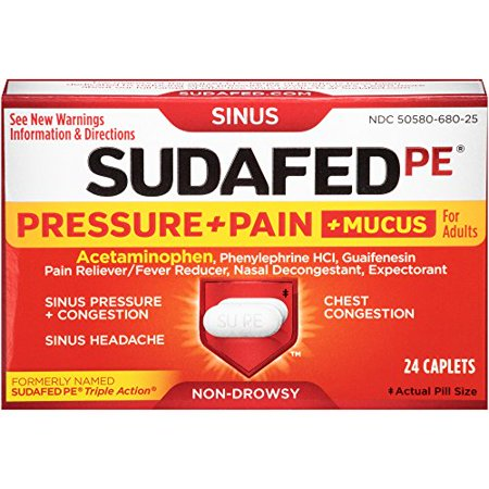 Sudafed PE Pressure Pain Mucus Relief Caplets for Adults 24 Count