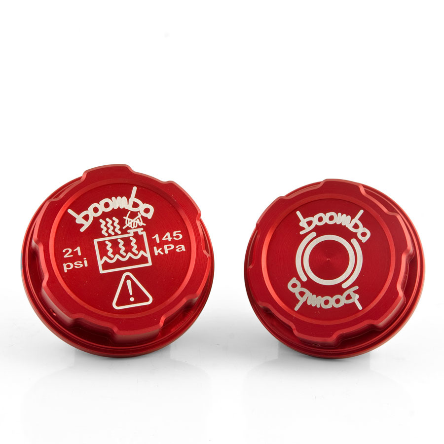 Boomba Racing Brake Fluid   Coolant Tank Cap Covers RED for 2013+ Ford Focus ST by Boomba Racing