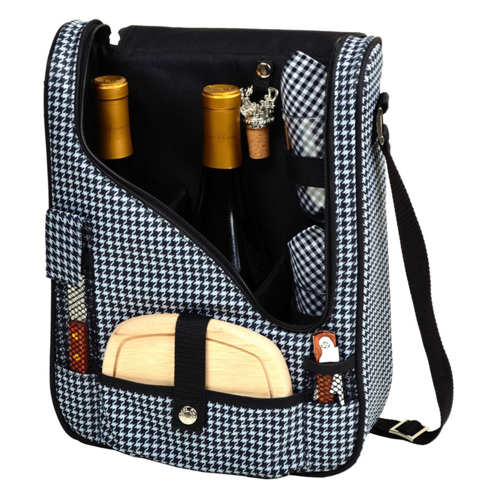 Picnic At Ascot Pinot Wine and Cheese Picnic Cooler for 2 - Houndstooth