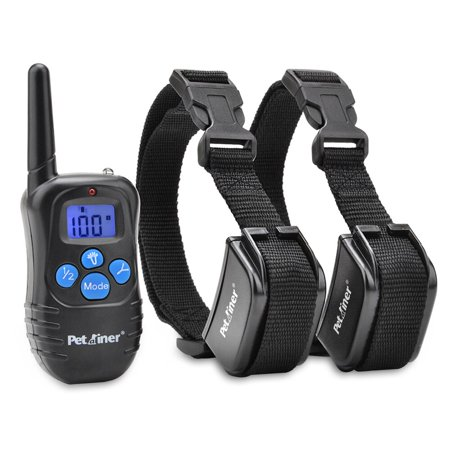 Petrainer PET998DRB2 Dog Training Collar with Remote for 2 Dogs, Rechargeable Waterproof Dog Shock Collar with Beep, Vibration and Shock Electronic Dog Collar, 1000 ft Range