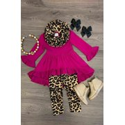 3PCS Toddler Kids Baby Girls Ruffle Tops Dress Leopard Pants Leggings Outfits Clothes Pink 3-4 Years