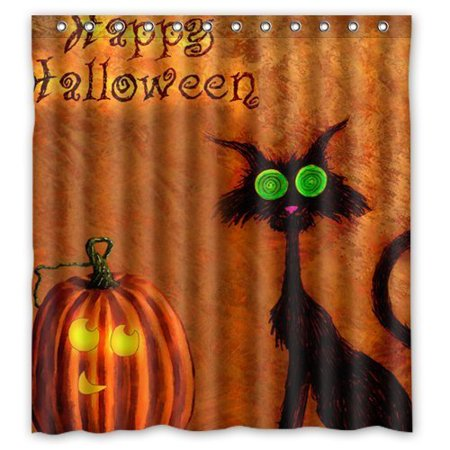 HelloDecor Evil Cat Pumpkin Happy Halloween Shower Curtain Polyester Fabric Bathroom Decorative Curtain Size 66x72 Inches](Evil Halloween Pumpkin)