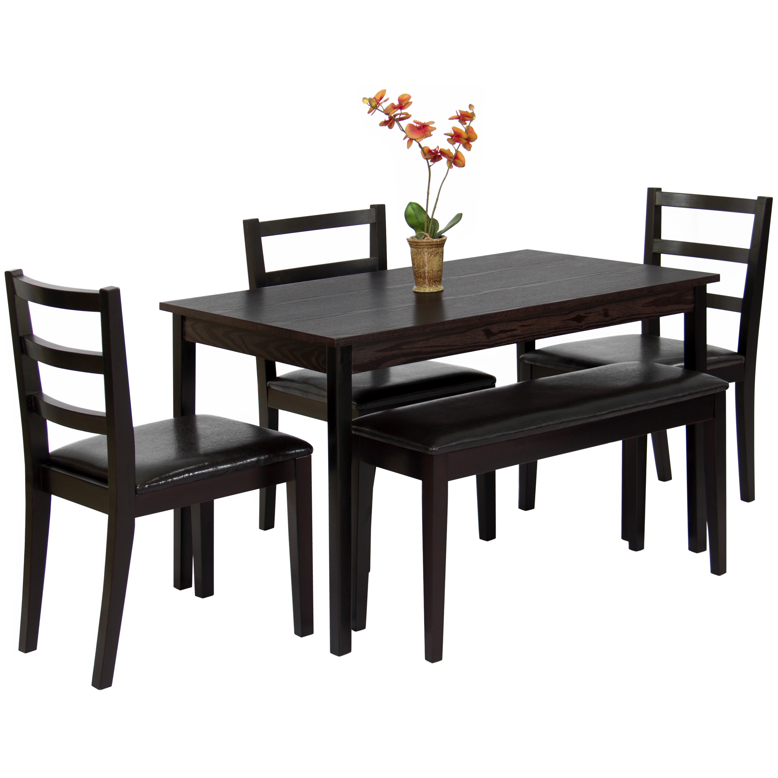 Best Choice Products 5 Piece Wood Dining Table Set W/ Bench, 3 Chairs