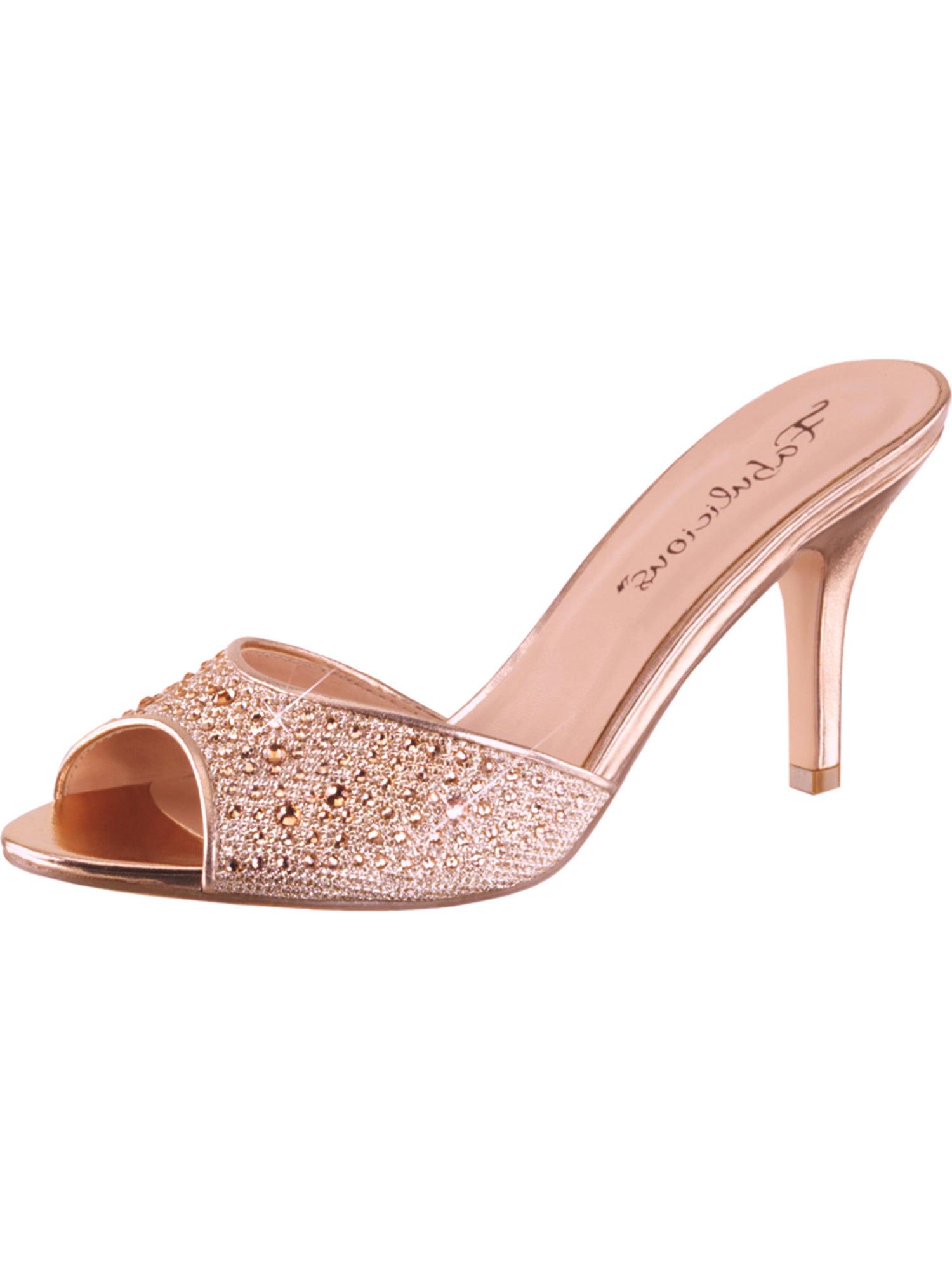 Womens Gold Dress Sandals Slides Shoes