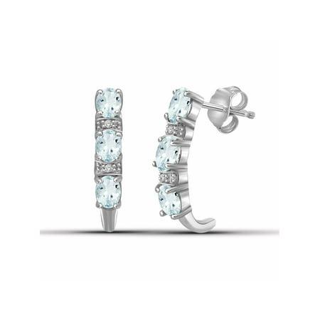 JewelersClub 0.84 Carat T.G.W. Aquamarine Gemstone and Accent White Diamond Earrings